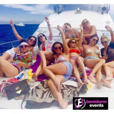 group of girls on a boat in benidorm