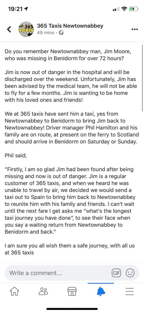 Missing man collected from Spain by UK taxi company